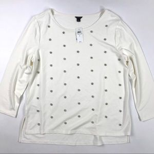 New Ann Taylor Embellished Knit Top Ivory Beaded